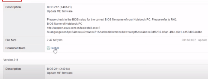 Versions for BIOS update.