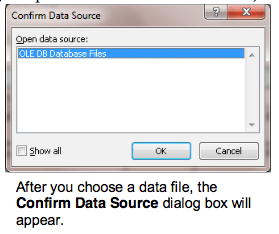 Microsoft Word Mail-Merge Confirm Data Source dialog box 1
