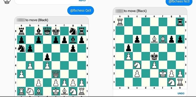 unlocking and playing a chess game on Facebook messenger