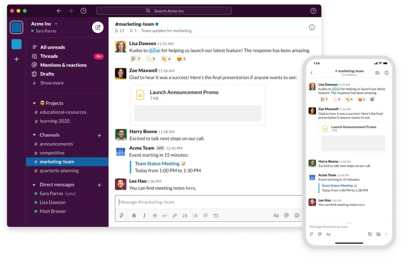 interface of the a Slack app