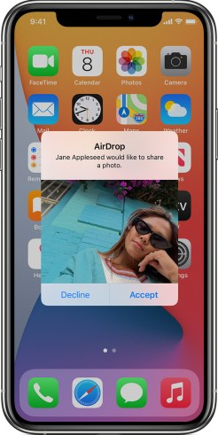how to accept a request on Airdrop using your iphone