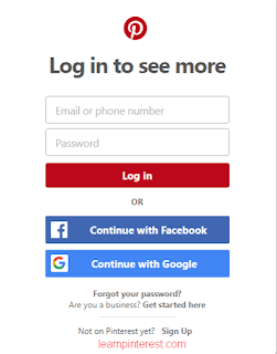 how to login on pinterest