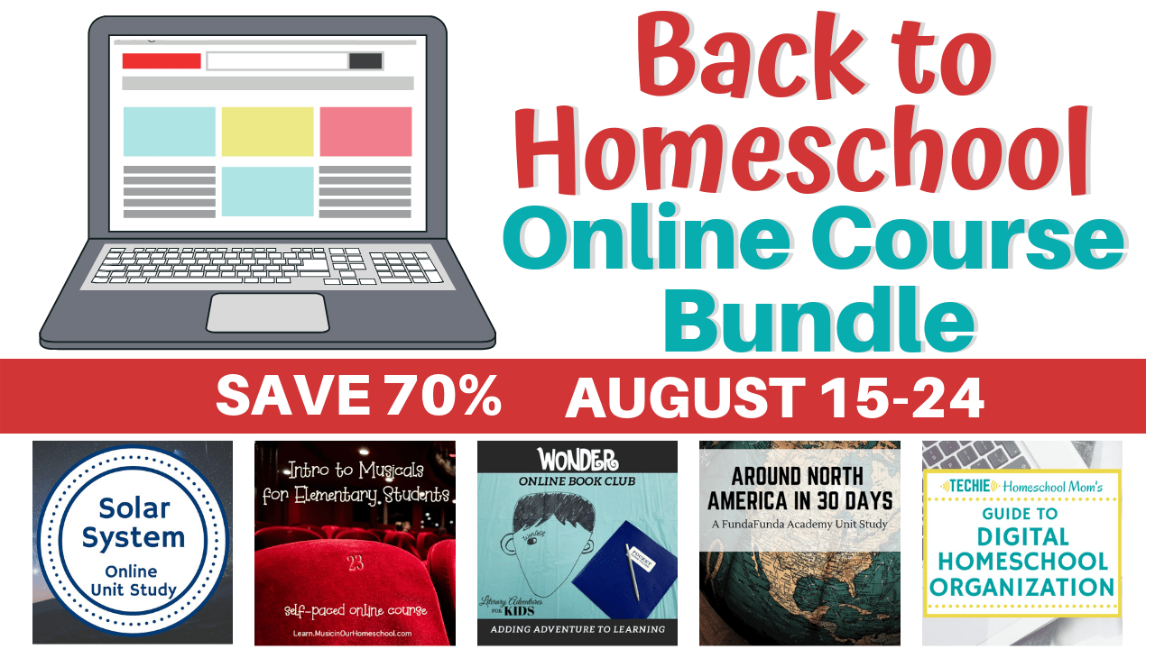 Get the Back to Homeschool Online Course Bundle only available from Aug. 15-24. Great for elementary through middle school.
