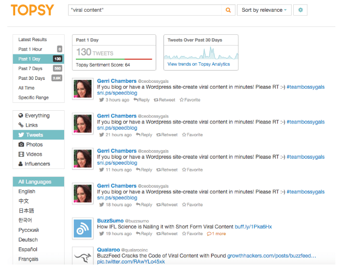 Topsy for viral content