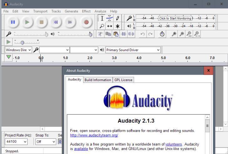 Audacity Version 2.1.3