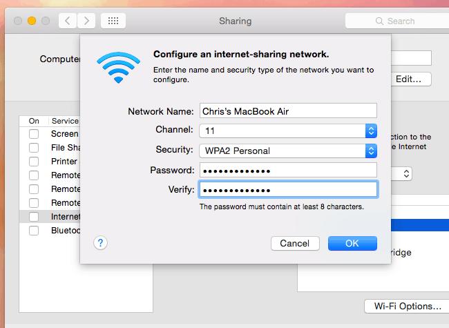 Using Mac as Wireless Hotspot
