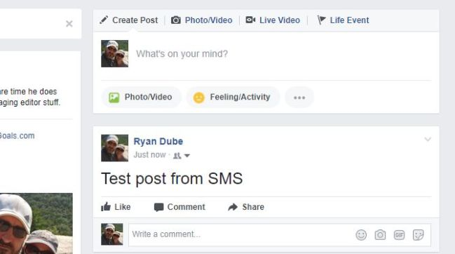 Post to Facebook via SMS