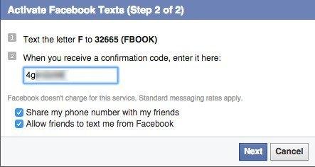 facebook confirmation code