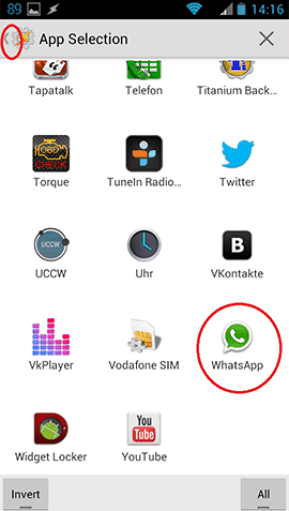 select WhatsApp from the application drawer
