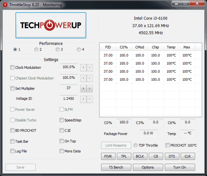 Control CPU Temperature With ThrottleStop
