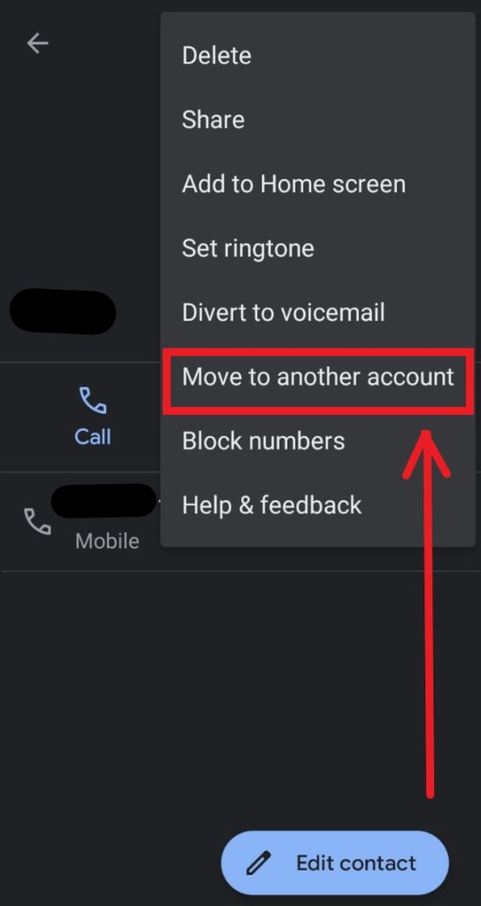 move contact to another account