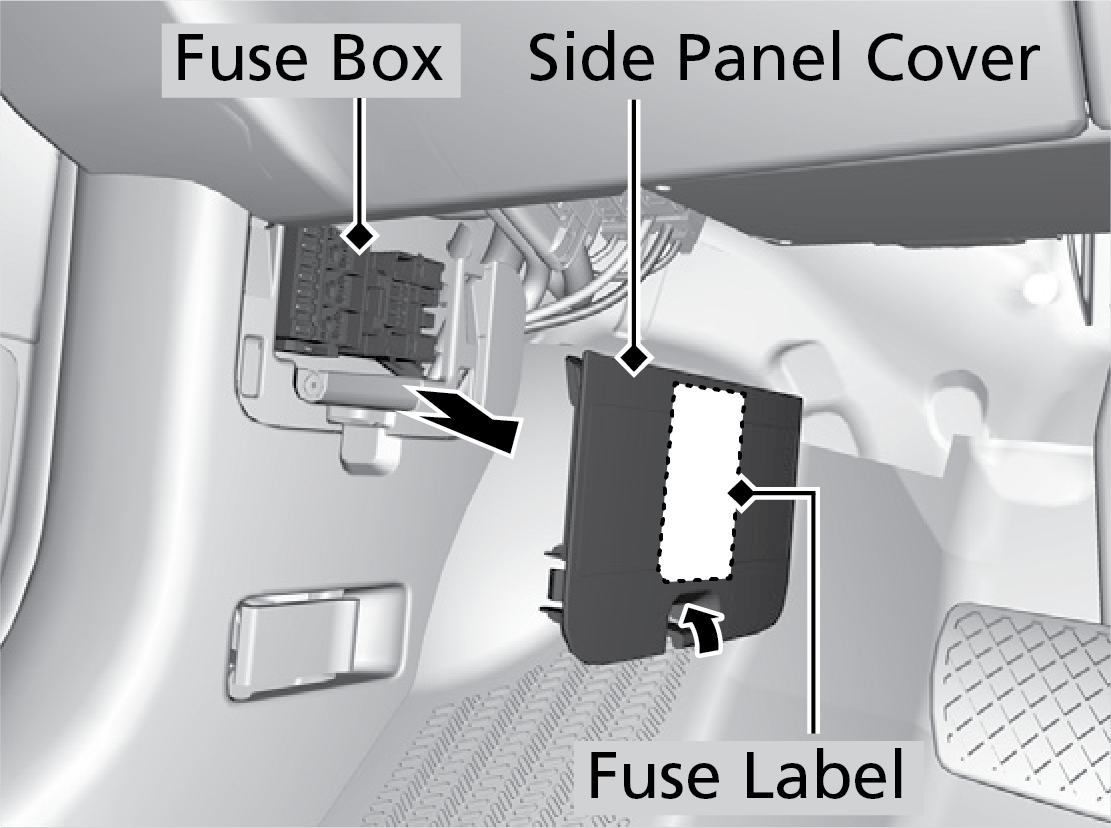 hight resolution of located inside the driver s side outer panel grasp the bottom edge of the panel and pull to toward you to remove it