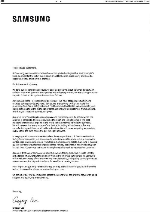 Samsung Apologize Letter
