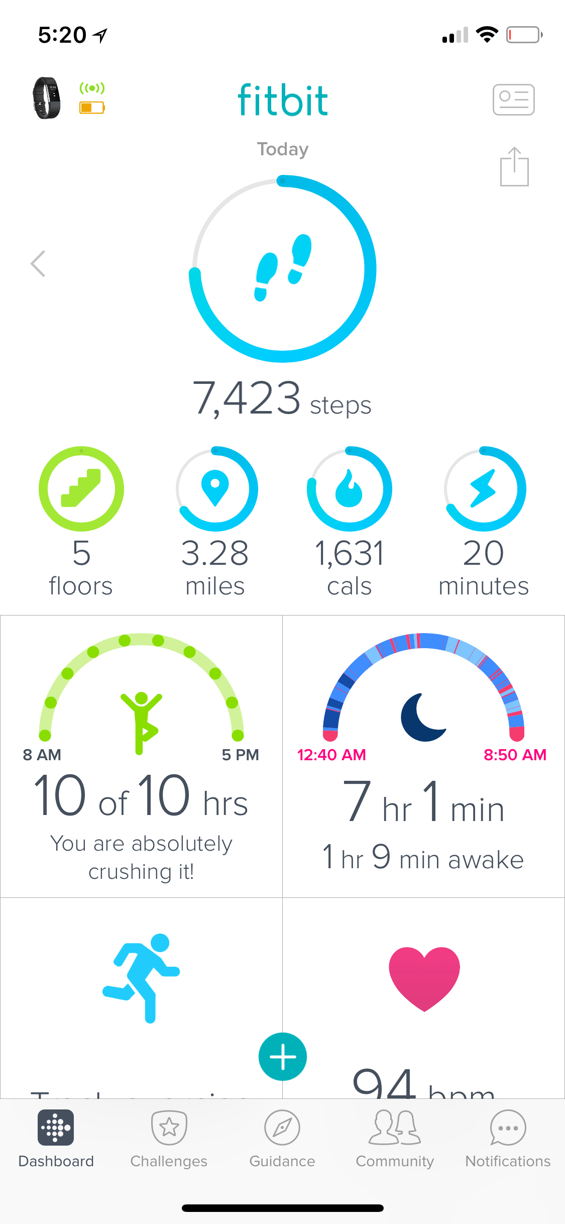 Fitbit mobile app home screen