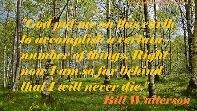 """""""God put me on this earth to accomplish a certain number of things. Right now I am so far behind that I will never die."""""""