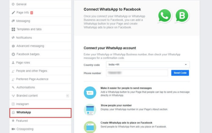 How to connect WhatsApp and Instagram to Facebook Page