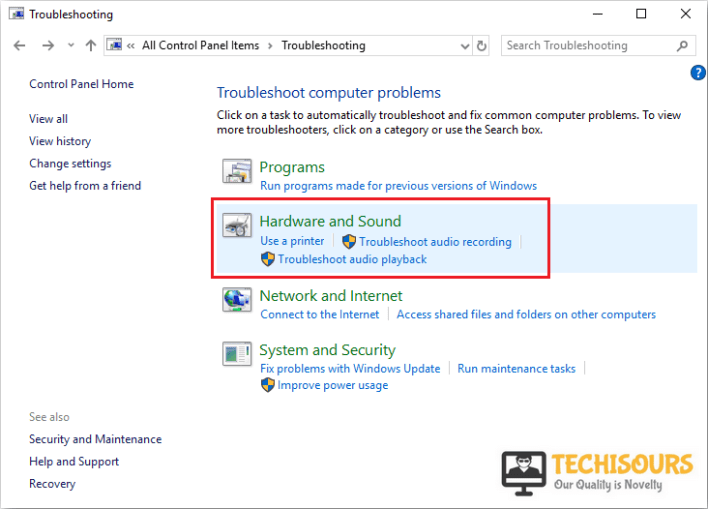 Choose hardware and sound to remove windows code 1 issue