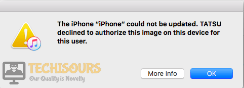 """The iPhone could not be restored: Tatsu declined to authorize this image on this device for this user"" Error on iTunes"
