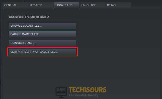 Verify Integrity of Files to fix the steam fatal error
