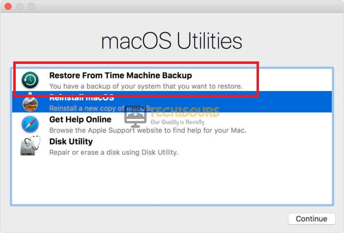 Restore from Time Machine Backup to fix the macOS could not be installed on your computer issue