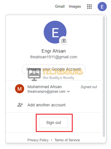 Sign out of your Google Account