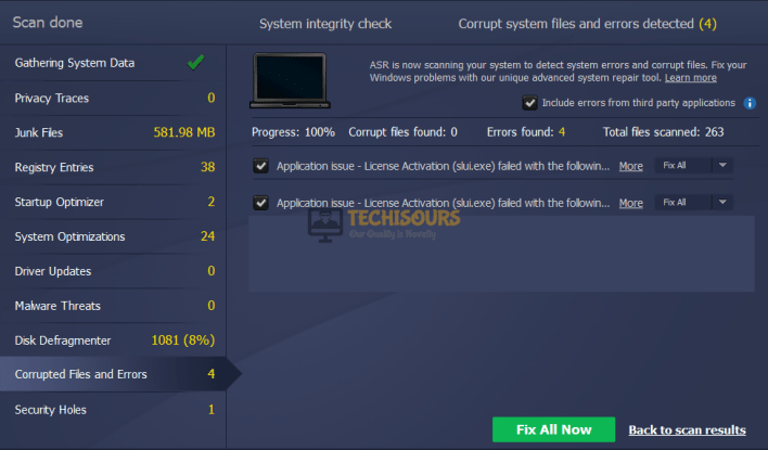 Advanced System Repair Tool to eliminate geforce experience not opening issue