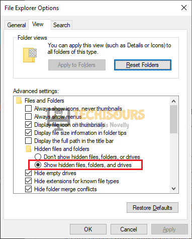 Show hidden files, folders, or drives to fix the Twitch Mods tab not loading issue