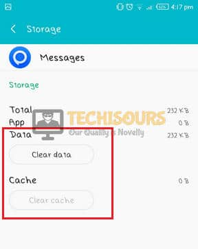Clear cache and data to get rid of free msg: unable to send message - message blocking is active error