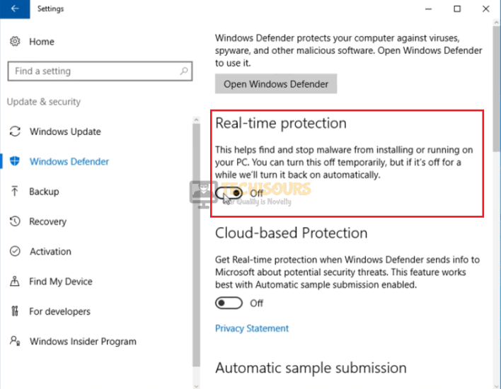Disable windows security to eliminate roblox error code 279