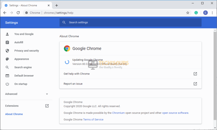 Choose updating chrome
