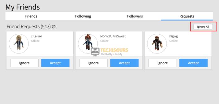 Click on Ignore All to eliminate error code 610 roblox
