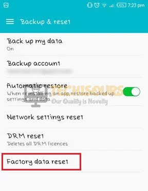 Choose factory data reset to get rid of internet may not be available error