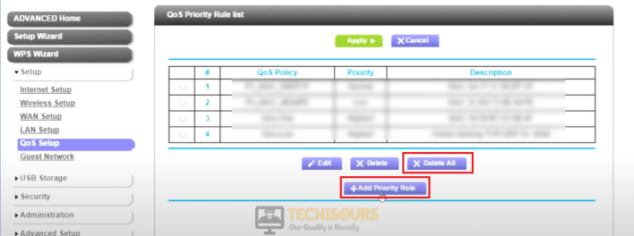 Click on Add priority rules to eliminate error code bee