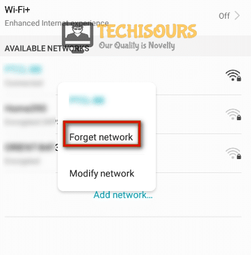 Forget network to eliminate internet may not be available issue