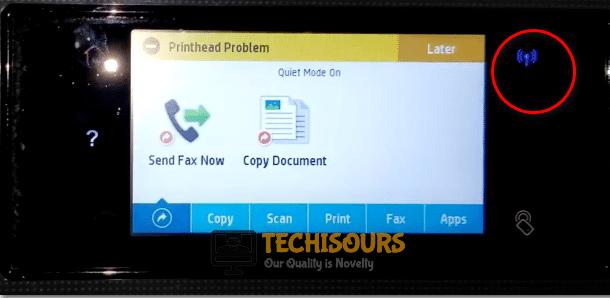 Turn on Wifi to eliminate hp printhead error