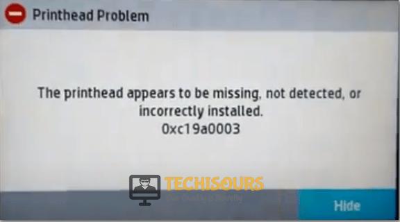 hp printhead error display