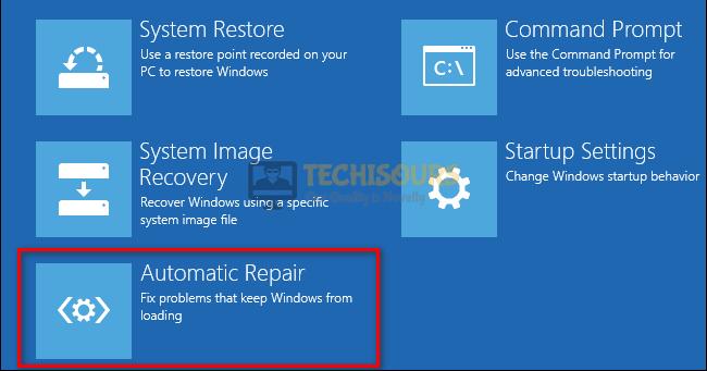 Choose automatic repair utility