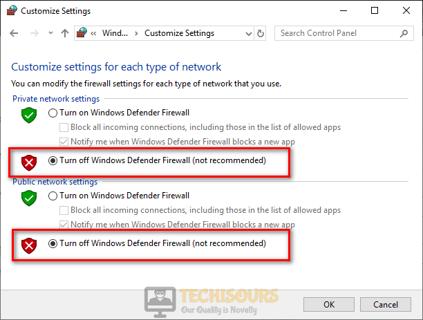 Turn off Windows defender firewall to fix the servers are too busy error