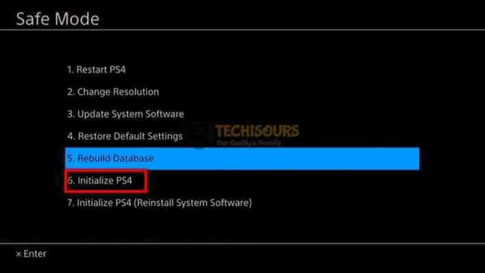 Choose 6th option to fix ps4 error su-30625-6