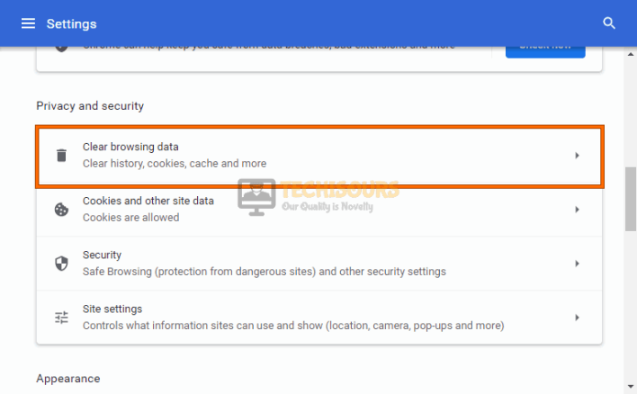 Clear browsing data to resolve error code: 232011