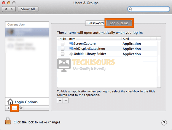 Get rid of login items to remove top results from mac