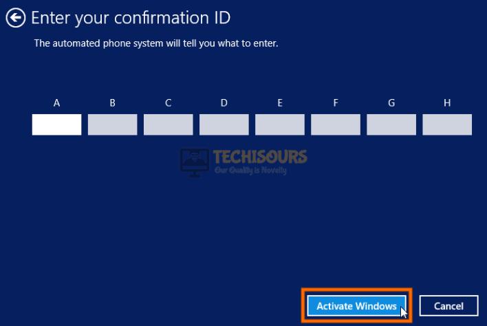 Enter confirmation ID