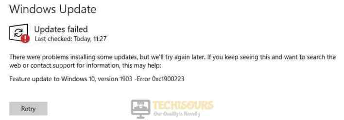 Error 0xC1900223 Message