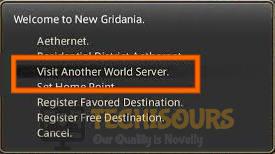 Visit Another World Server to fix FFXIV Error 2002