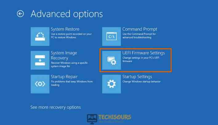 Click on UEFI Firmware settings