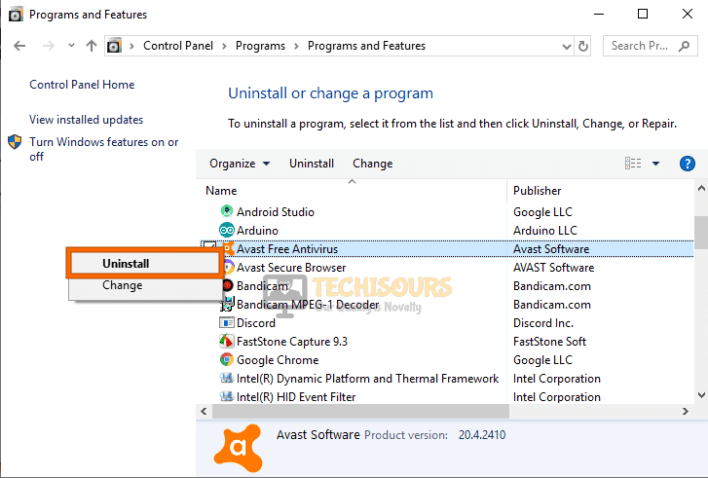 Uninstall Antivirus to fix Windows cannot find steam.exe error