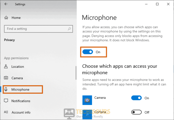 Allow apps to access microphone