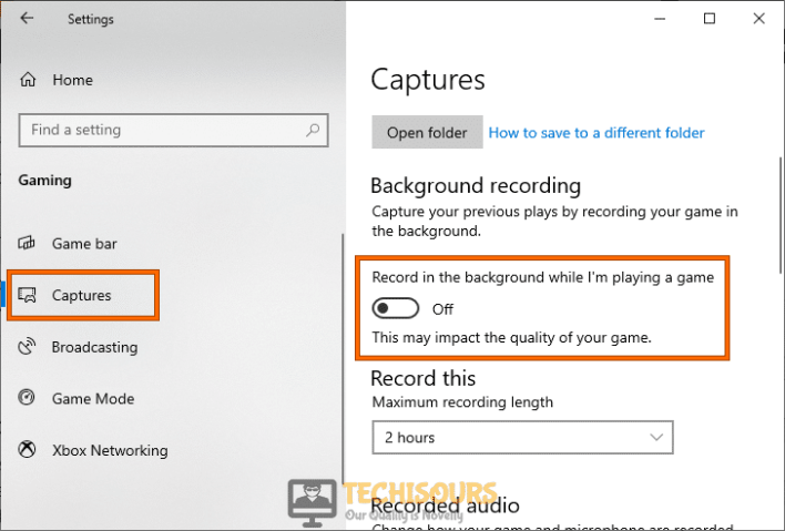 Disable Record in the background while I'm playing a game