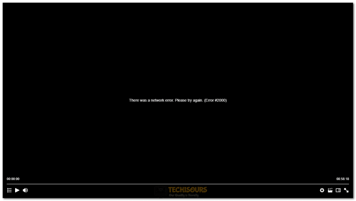 there was a network error. Please try again. (error #2000)