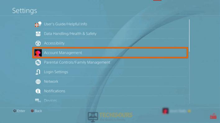 Choose Account Management to fix error code chicken